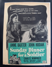 Sunday Dinner for a Soldier (1944) - Anne Baxter | Vintage Trade Ad